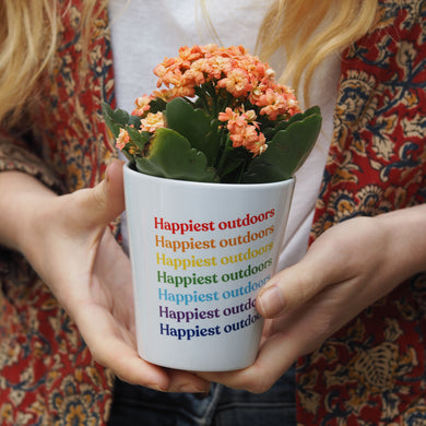Rainbow Slogan Personalised Plant Pot
