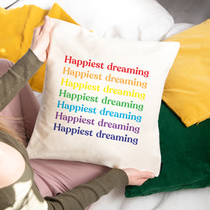 Happiest Rainbow Slogan Repeat Personalised Cushion