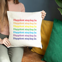Load image into Gallery viewer, Happiest Rainbow Slogan Repeat Personalised Cushion