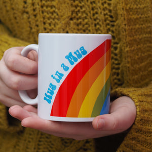 hug in a mug rainbow thinking of you gift