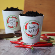 Load image into Gallery viewer, Personalised 'ring of fire' plant pot with chilli seeds