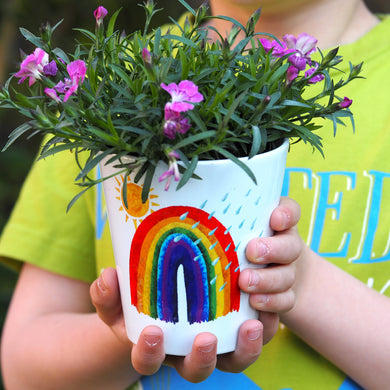 Rainbow 'rain or shine' Personalised Plant Pot