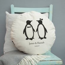 Load image into Gallery viewer, Personalised Penguins Cushion - Round or Square