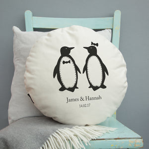 Personalised Penguins Cushion - Round or Square