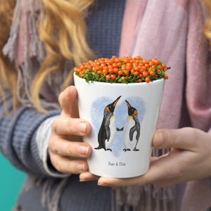 Penguin Couple plant pot gift