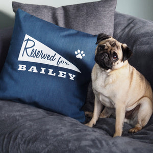 "Personalised Pet Cushion - Denim with pennant flag design ""Reserved For"""
