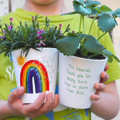 Rainbow personalised plant pot for Teacher