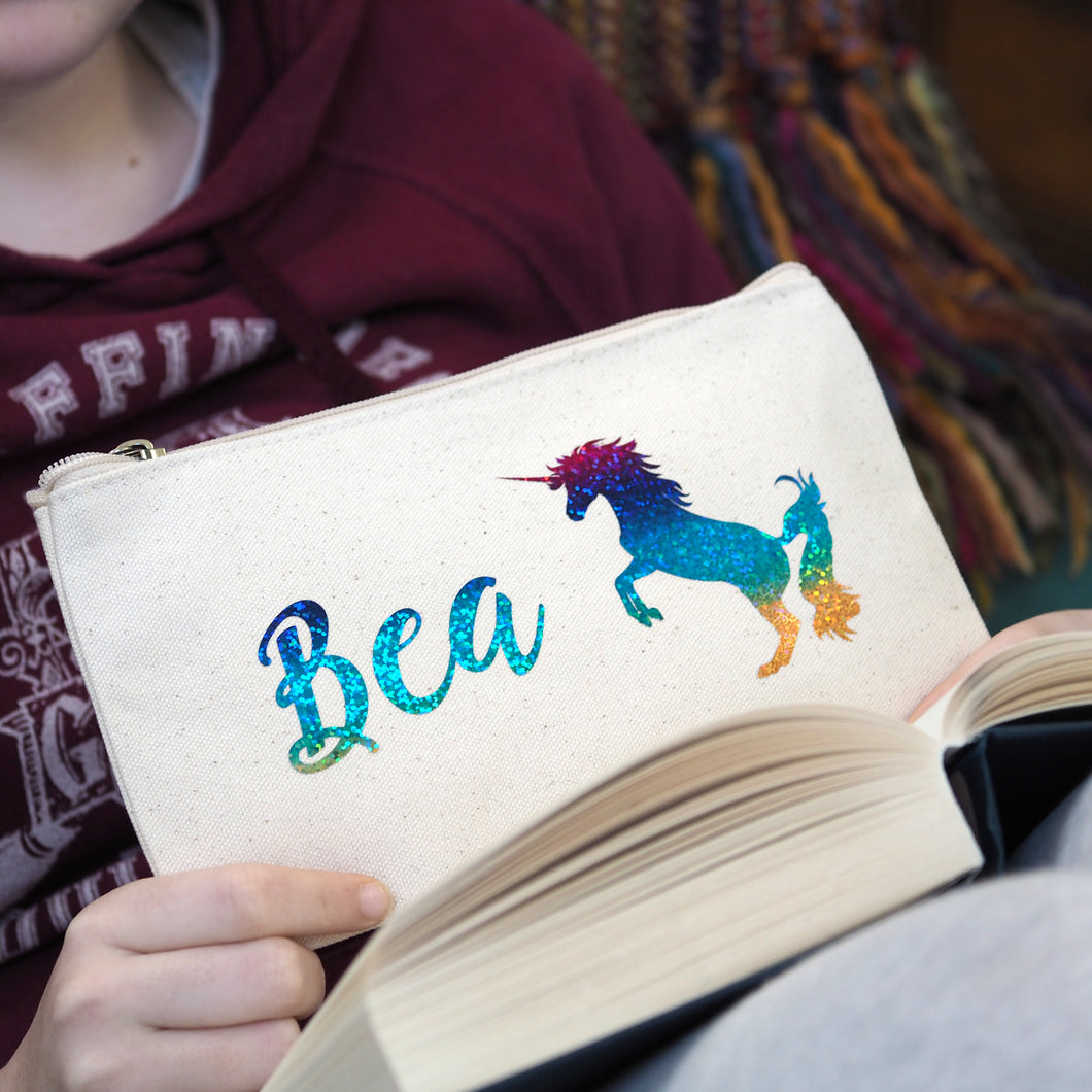 holographic rainbow unicorn personalised pencil case