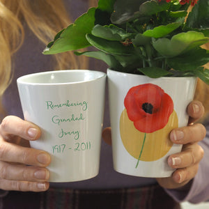 poppy memorial plant pot personalised
