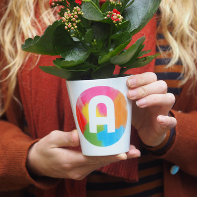 Rainbow Brush Strokes Alphabet Plant Pot