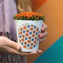 Load image into Gallery viewer, Retro Flowers Personalised Plant Pot