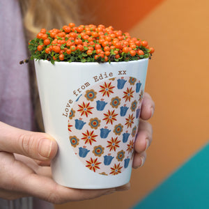 Retro Flowers Personalised Plant Pot