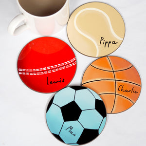 sports ball coasters personalised