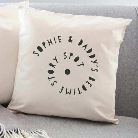 Personalised bedtime story spot cushion - round or square
