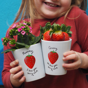 Strawberry Mother's Day Plant Pot with strawberry seeds