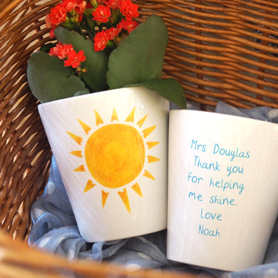 Sunshine personalised plant pot for Teacher