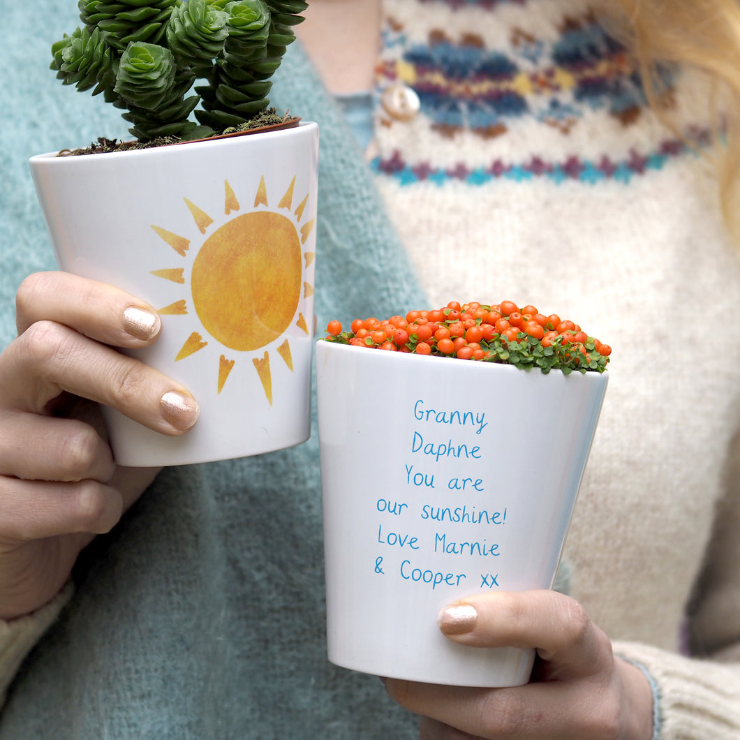 Sunshine personalised plant pot for her