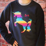 holographic rainbow unicorn girl's jumper