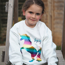 Load image into Gallery viewer, holographic rainbow unicorn girl's jumper