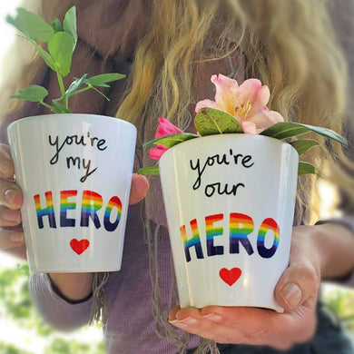 you're my hero gift plant pot
