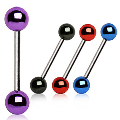 316L Surgical Steel Barbell with Vacuum-Coated Metallic Acrylic Balls