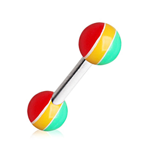 316L Barbell with UV Acrylic Rasta Balls