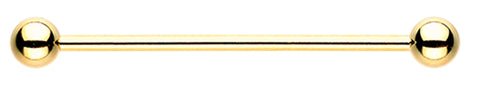 "Gold Colored PVD Industrial Barbell - 14 GA (1.6mm) - Ball Size: 1/4"" (6mm) - Sold Individually"