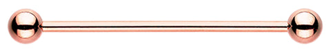 "Rose Gold Colored PVD Industrial Barbell - 14 GA (1.6mm) - Ball Size: 1/4"" (6mm) - Sold Individually"