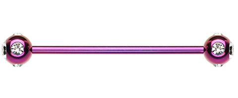 "Colorline PVD Aurora Glass-Gem Ball Industrial Barbell - 14 GA (1.6mm) - Ball Size: 1/4"" (6mm) - Purple/Clear - Sold Individually"