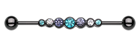 "Blackline PVD Dazzling Glass-Gem Row Industrial Barbell - 14 GA (1.6mm) - Ball Size: 3/16"" (5mm) - Black/Teal - Sold Individually"