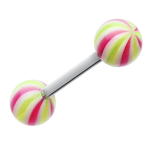 "Candy Swirl Acrylic Top Barbell Tongue Ring - 14 GA (1.6mm) - Ball Size: 1/4"" (6mm) - Yellow/Purple - Sold as a Pair"