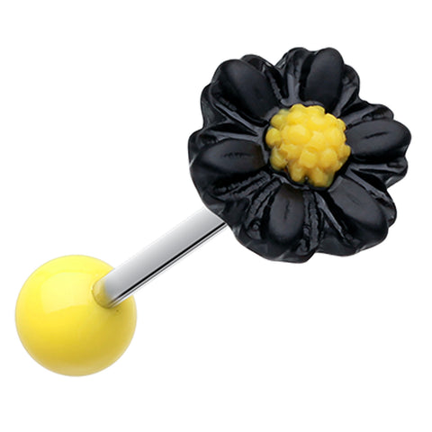 Adorable Daisy Acrylic Barbell Tongue Ring - 14 GA (1.6mm) - Black - Sold as a Pair