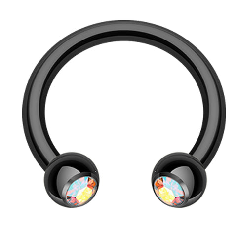 "Blackline PVD Glass-Gem Ball Horseshoe Circular Barbell - 14 GA (1.6mm) - Ball Size: 3/16"" (5mm) - Black/Aurora Borealis - Sold as a Pair"