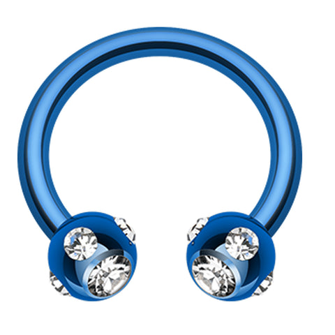 "Blackline PVD Aurora Glass-Gem Ball Horseshoe Circular Barbell - 14 GA (1.6mm) - Ball Size: 3/16"" (5mm) - Blue/Clear - Sold as a Pair"