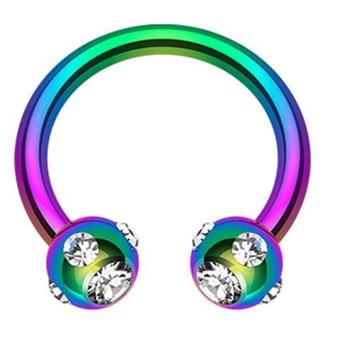 "Blackline PVD Aurora Glass-Gem Ball Horseshoe Circular Barbell - 16 GA (1.2mm) - Ball Size: 1/8"" (3mm) - Rainbow/Clear - Sold as a Pair"