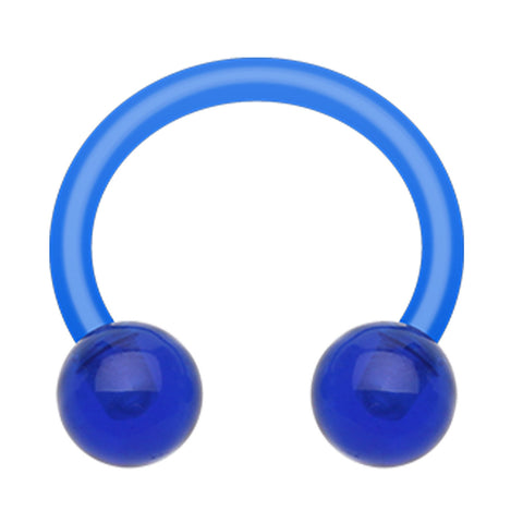 "UV Acrylic Flexible Shaft Horseshoe Circular Barbell - 14 GA (1.6mm) - Ball Size: 5/32"" (4mm) - Blue - Sold as a Pair"