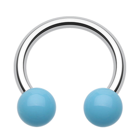 "Neon UV Acrylic Horseshoe Circular Barbell - 14 GA (1.6mm) - Ball Size: 5/32"" (4mm) - Light Blue - Sold as a Pair"