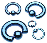 "Colorline PVD 316L Surgical Steel Captive Bead Ring - 2 GA (6.5mm) - Ball Size: 3/8"" (10mm) - Blue - Sold as a Pair"