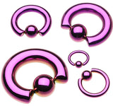 "Colorline PVD 316L Surgical Steel Captive Bead Ring - 2 GA (6.5mm) - Ball Size: 3/8"" (10mm) - Purple - Sold as a Pair"