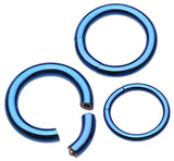 Colorline PVD Segmented Captive Bead Ring - 16 GA (1.2mm) - Blue - Sold as a Pair