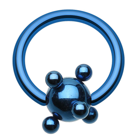 "Colorline PVD Studded Ball Captive Bead Ring - 14 GA (1.6mm) - Ball Size: 3/16"" (5mm) - Blue - Sold as a Pair"
