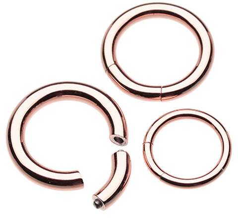 Rose Gold Plated Segmented Captive Bead Ring - 16 GA (1.2mm)  - Sold as a Pair