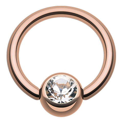 "Rose Gold Plated Glass-Gem Ball Captive Bead Ring - 16 GA (1.2mm) - Ball Size: 5/32"" (4mm) - Clear - Sold as a Pair"