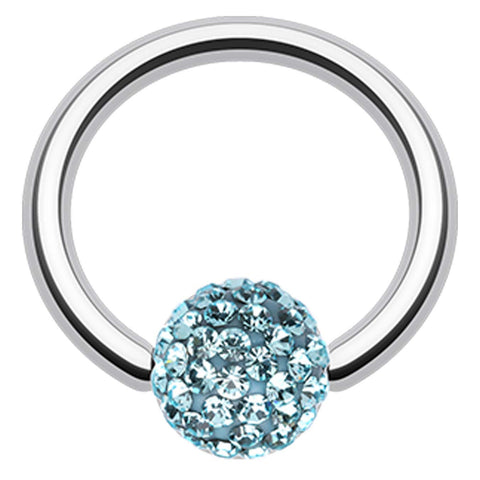 "Sparkling Multi Glass-Gem Captive Bead Ring - 16 GA (1.2mm) - Ball Size: 5/32"" (4mm) - Aqua - Sold as a Pair"