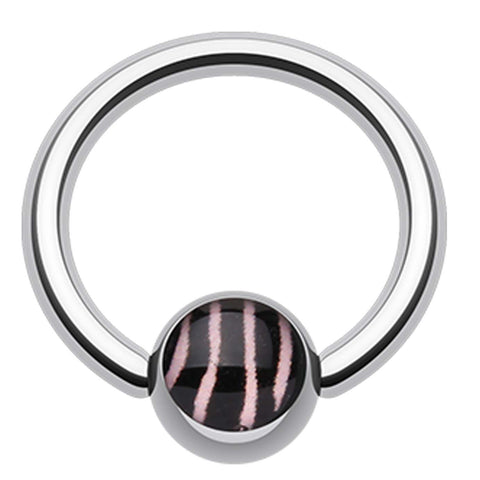 "Zebra Stripe Logo Ball Captive Bead Ring - 14 GA (1.6mm) - Ball Size: 1/4"" (6mm) - Pink - Sold as a Pair"