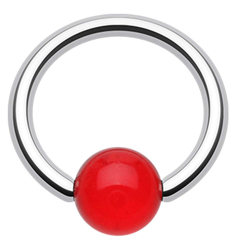 "UV Acrylic Ball Top Captive Bead Ring - 16 GA (1.2mm) - Ball Size: 3/16"" (5mm) - Red - Sold as a Pair"