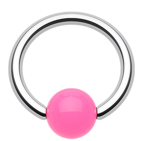 "Neon Acrylic Ball Top Captive Bead Ring - 16 GA (1.2mm) - Ball Size: 3/16"" (5mm) - Pink - Sold as a Pair"