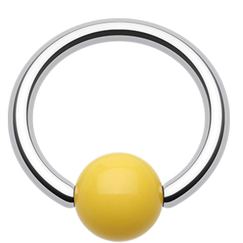 "Neon Acrylic Ball Top Captive Bead Ring - 16 GA (1.2mm) - Ball Size: 5/32"" (4mm) - Yellow - Sold as a Pair"