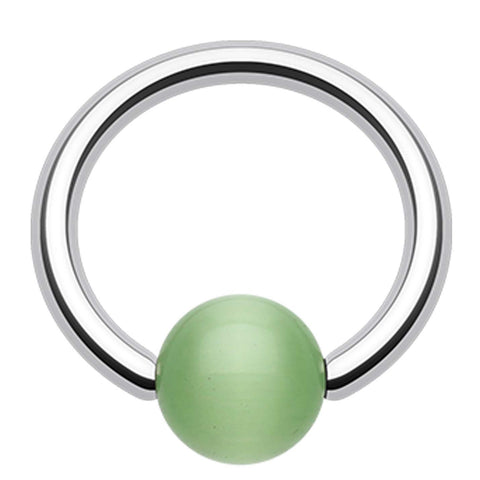 "Cat Eye Bead Captive Bead Ring - 14 GA (1.6mm) - Ball Size: 3/16"" (5mm) - Green - Sold as a Pair"