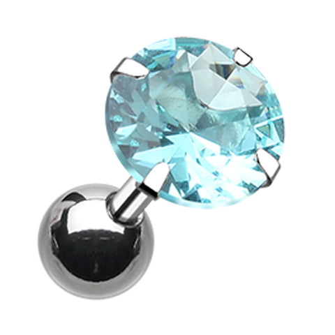 "Round Glass-Gem Crystal Cartilage Tragus Earring - 18 GA (1mm) - Ball Size: 1/4"" (6mm) - Aqua - Sold As a Pair"
